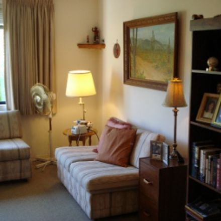 New Residence Decor for client - AFTER: living room area in assisted-living apartment