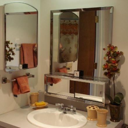 New Residential Decor for client - AFTER: bathroom in assisted-living apt. after design touches added